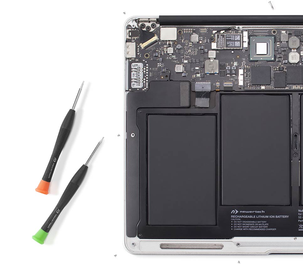 13-inch MacBook Air with NewerTech battery installed.