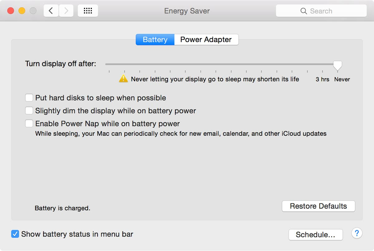 OS X Energy Saver preferences, Battery tab