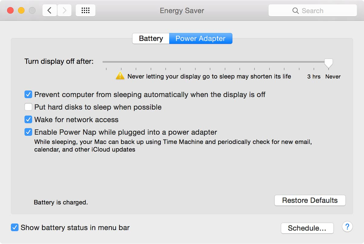 OS X Energy Saver preferences, Power Adapter tab